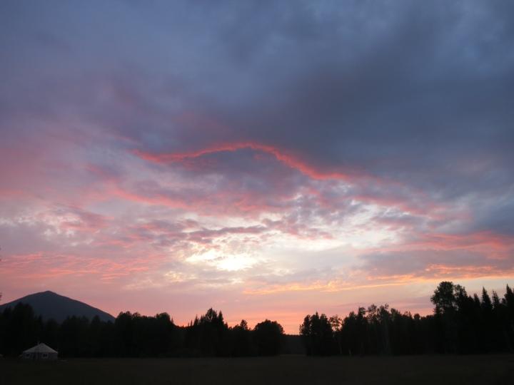 sunset over the yurt