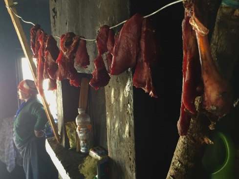 yak meat drying